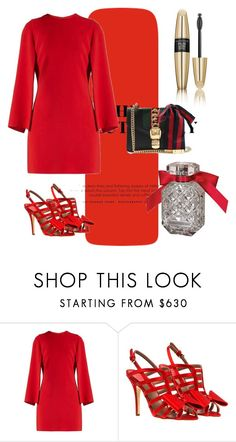 """firetruck red"" by daddy-allahu-akbar ❤ liked on Polyvore featuring Givenchy, Laurence Dacade, Victoria's Secret and Gucci"