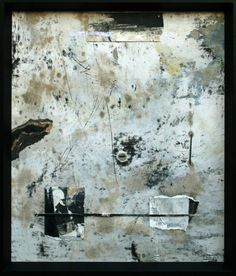 CHICAGO: A Question of Balance: Mixed Media Original- Acrylic & enamel paint, collage, thread, metal, graphite. Black frame.