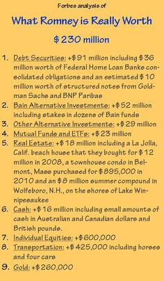 Romney's net worth, gathered from values of 184 assets across the couple's two blind trusts, IRAs and outright holdings