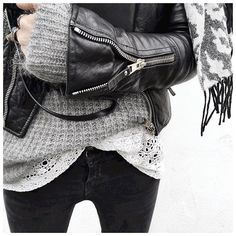 Knitwear + leather + lace and jeans