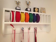 Martial Arts belt rack. Great storage & display for medals, belts & trophies. Kung fu, karate, judo etc. Made by RonJohn Home Improvements.