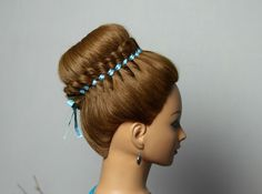 Braided hairstyle for long hair with 4 strand ribbon braid. Прическа : П...