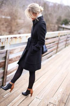 Black Trench / Black Tights / Heeleed Booties