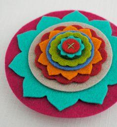 Multicolored Wool Felt Flower Brooch.