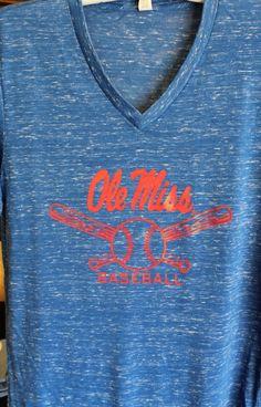 d91a53634 Ole Miss Baseball Canvas T-Shirt Royal Blue v-neck  24.95