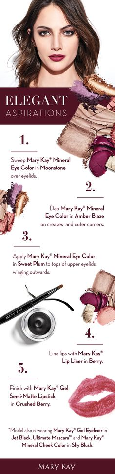 With shimmery purple as the focal point, this confident yet elegant makeup look reflects the feeling in your heart: that your every dream can come true this holiday season. Mary Kay Cosmetics, Makeup Cosmetics, Holiday Makeup, Christmas Makeup, Elegant Make-up, Selling Mary Kay, Purple Eye Makeup, Beautiful Eye Makeup, Beauty Consultant