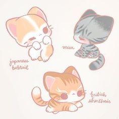 Cute Kawaii Animals, Cute Animal Drawings Kawaii, Cute Little Drawings, Kawaii Cat, Cute Baby Animals, Cute Drawings, Kitten Drawing, Creature Drawings, Drawing Reference Poses