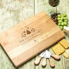 Engraved Large Rectangular Wooden Cheese Board Set - Hearts and Swirl Engraved Wedding Gifts, Wedding Gifts For Bride And Groom, Engraved Gifts, Bride Gifts, Wooden Cheese Board, Cheese Board Set, Christmas Gifts For Couples, Personalized Mother's Day Gifts, Couple Gifts