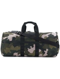 Green cotton camo weekend duffle from Tomas Maier featuring round top handles, a detachable and adjustable shoulder strap, a top zip fastening and a main internal compartment. Camouflage, Green Cotton, Duffel Bag, Travel Bag, Designer, Gym Bag, Shoulder Strap, Zip, Bags