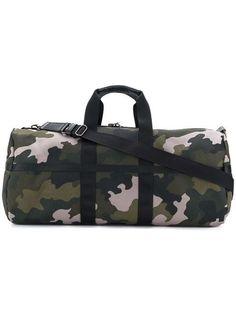 Black Leather Camouflage DEM Duffel Bag for Travel Outdoor or Gym Bag