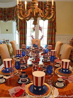 4th of July Tablescape with Uncle Sam Hats featured on Between Naps on the Porch.