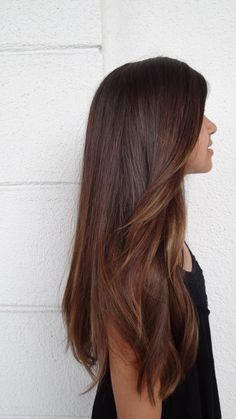 subtle brunette ombre. Now if I could just get my hair this length