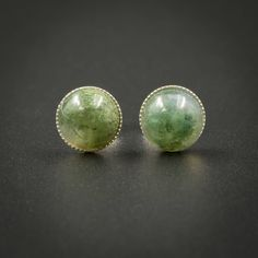 SP..Moss agate stud earrings moss agate green and silver sterling silver handmade cabochon stud gemstone earrings moss green stud earring by CretanHareCreations on Etsy