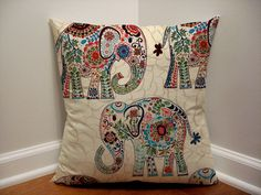 Ivory Elephant Nursery Pillow Cover, Boho Chic Nursery, Elephant Pillow Cover, Elephant Nursery Decor