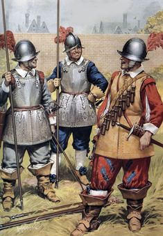 A:Peace;the Artillery Garden,c.1620 1:The Double-Armed Man.2:Pikeman.3:Musketeer.