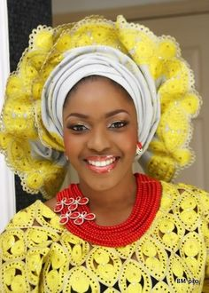Yellow gele bride ~Latest African Fashion, African Prints, African fashion styles, African clothing, Nigerian style, Ghanaian fashion, African women dresses, African Bags, African shoes, Nigerian fashion, Ankara, Kitenge, Aso okè, Kenté, brocade. ~DKK