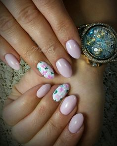 Pink nails, spring manicure,  flowers,  one stroke , fluorescent nails