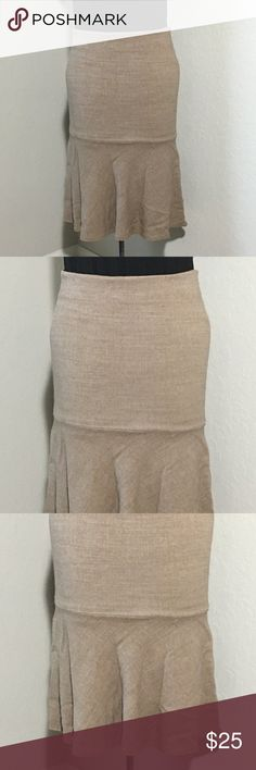 "French Connection Trumpet Skirt Wool Beige Sz 4 Women's French Connection beige wool trumpet skirt Sz 4 measurements 14.5"" waist laying flat, 24"" waist to hem. Excellent condition no flaws French Connection Skirts"