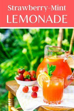 Summer Recipes, Easy Dinner Recipes, Appetizer Recipes, Fall Recipes, Delicious Recipes, Homemade Strawberry Lemonade, Strawberry Puree, Fruity Drinks, Summer Drinks