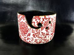 Large yarn bowl knitting bowl with red flowers by TerreFermePottery on Etsy https://www.etsy.com/listing/475121775/large-yarn-bowl-knitting-bowl-with-red