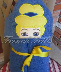 Glass Slipper Blonde Princess Hooded Towel by FrenchFrills on Etsy, $3.75