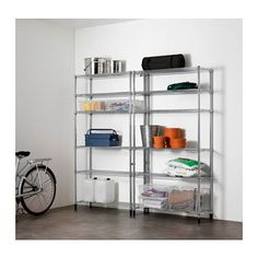 IKEA - OMAR, 2 section shelving unit, Easy to assemble – no tools required.Adjustable shelves make it simple for you to adjust the space to suit your needs.The connection fixture gives you greater stability if you want to connect several shelf sections or shelving units to create a larger storage solution.Also stands steady on an uneven floor since the feet can be adjusted.