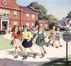 Roller Skating home from elementary school, school buses then. You walked to school everyday or Mom drove you. School Daze, Old School, School Buses, School Kids, Vintage Art, Vintage Photos, Nostalgia, Vintage School, Norman Rockwell