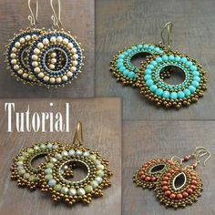 Jewelry Making Beads Bead Woven Medallion Earrings - I have just finished writing my jewelry making tutorial. This one was a little tricky for me, as it was my first with bead weaving and since I have been self taught all of the techniques I use… Wire Jewelry, Jewelry Crafts, Beaded Jewelry, Handmade Jewelry, Jewelry Ideas, Jewelry Tree, Jewelry Stand, Dainty Jewelry, Jewelry Armoire