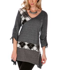 Gray Tile Ruched Sleeve Tunic | Daily deals for moms, babies and kids