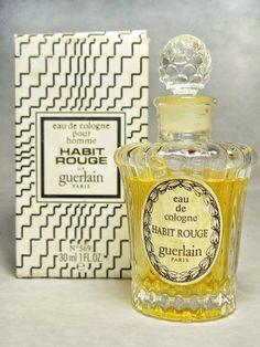 Vintage Guerlain Habit Rouge Eau de Cologne by FragranceWindow Perfume Ad, Solid Perfume, Best Perfume, Vintage Perfume Bottles, Parfum Guerlain, Guerlain Paris, Parfum Rose, Habit Rouge, Perfumes Vintage