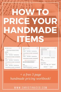 Want to create the perfect pricing point for your handmade items? I will break down everything when it comes to pricing your handmade items and a free workbook is included! - Crafting Tips Etsy Business, Craft Business, Business Tips, Business Marketing, Marketing Products, Business Planner, Business Education, Business Products, Marketing Plan