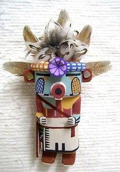 "Hopi Carved 8"" Old Style Corn Boy Hunter Kachina Doll Sculpture by Willard Mowa"