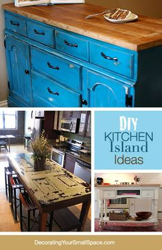 DIY Kitchen Island Ideas! I want one where I can push chairs under out of the way!