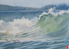 Wave Curl, Daily Painting by Poppy Balser Watercolor ~ 5 x 7 Watercolor Painting Techniques, Watercolor Sketchbook, Watercolor Paintings, Watercolours, Watercolor Ocean, Watercolor Landscape, Watercolor Tattoo, Seascape Paintings, Landscape Paintings
