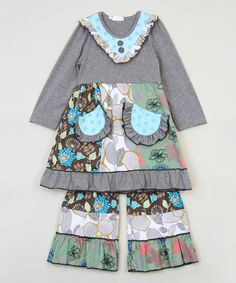 Look what I found on #zulily! Gray Floral A-Line Tunic & Pants - Infant, Toddler & Girls by Ruffles by Tutu AND Lulu #zulilyfinds
