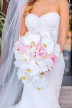 pink bridal bouquets Imagini pentru pink roses and white orchid wedding bouquet White Orchid Bouquet, Orchid Bouquet Wedding, Pink Rose Bouquet, Wedding Brooch Bouquets, White Wedding Bouquets, Bride Bouquets, White Orchids, Purple Bouquets, Bridesmaid Bouquets