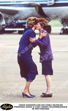 September 9, 1992: Princess Diana with her sister, Lady Sarah McCorqoudale in Nottingham.