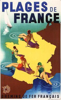 ✨  Max Ponty (1904-1972) - Plages de France, Chemins de Fer Français  Lithograph approx. 1930.  Printer: Agence Française de Propagande, Paris