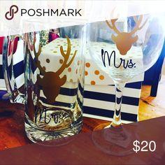 Mr.&Mrs. beer mug and wine glass set Handmade Christmas set Accessories