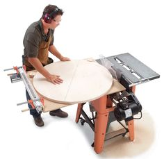 Tablesawn Circles:  Saw round tabletops with a simple shop-made jig.