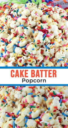 movie night snacks Our Cake Batter Popcorn is sweet, salty, full of sprinkles and it tastes just like a Birthday Cake. This yummy and colorful snack is perfect for family movie night Gourmet Popcorn, Popcorn Snacks, Candy Popcorn, Flavored Popcorn, Popcorn Recipes, Snack Recipes, Popcorn Toppings, Colorful Popcorn Recipe, Diy Popcorn
