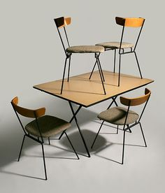 50'S MID CENTURY MODERN CLIFFORD PASCOE DINING TABLE AND 4 CHAIRS PAUL MCCOBB ER