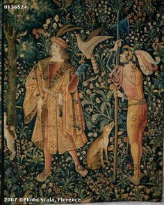 1500 (approx) - Tapestry of the scenes of Court: hunt with falcon - Cluny museum
