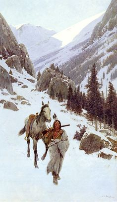Through the Pass - Winter by Henry Farny