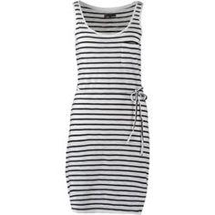 Zalando Essentials Sukienka z dżerseju white/washed dark blue