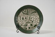 scraffito plate, green underglaze (using zentangle method?)