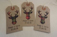 Your wedding is personal. Make your favours and table settings as personal as you are with these customised vintage green tartan tags. Add a