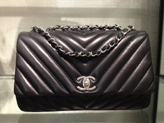 Chanel Black Surpique Chevron Flap Medium Bag