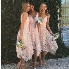 Pink Lace Unique With Straps V-Neck Simple Elegant Vintage Wedding Bridesmaid Dresses. RG212
