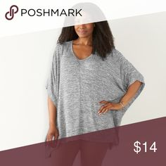 "SONOMA Drapey Poncho Top 0X - 1X Glacier Gray NWT BRAND NEW WITH TAG:    Urban chic. You'll look and feel fabulous in this women's SONOMA Goods for Life poncho.  MSRP. $44    PRODUCT FEATURES   Soft, drapey knit  Sharkbite hem  V-neck  Short sleeves    FIT & Sizing  Poncho styling    Fabric & Care  48% Rayon, 48% polyester, 4% spandex  Machine wash    Actual measurements:   0X-1X: side to side: 35"", length: 28"" Sonoma Tops Tunics"